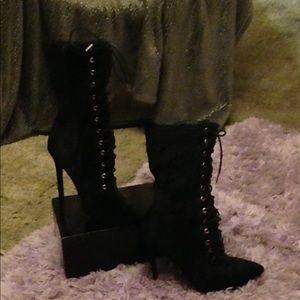 Velvet mid calf boots Never worn mint condition